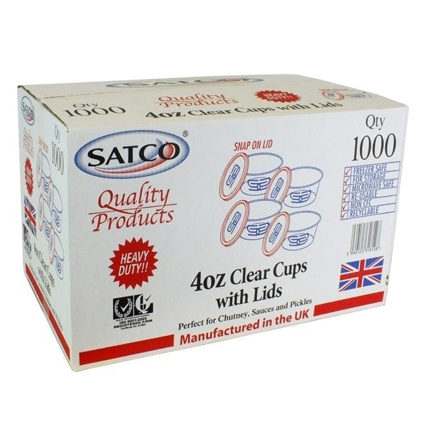 Satco Clear Plastic Containers & Lids 4oz