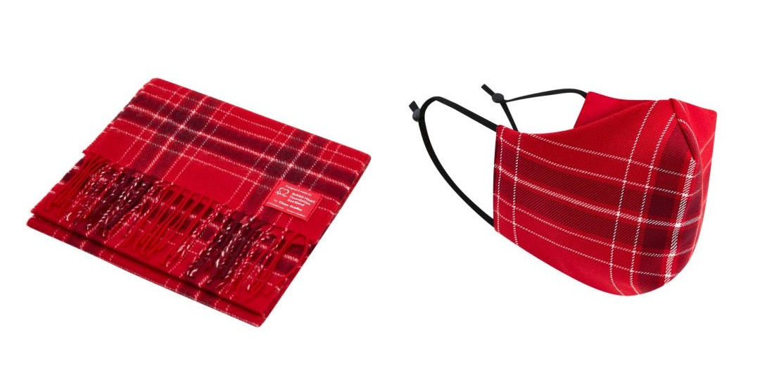 Exclusive British Heart Foundation Tartan Scarf and Facemask